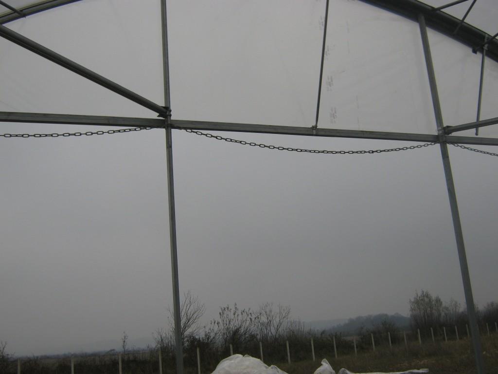 čelo plastenika sa lancima za špalir